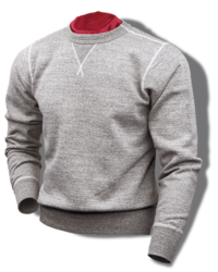 Buzz Rickson 1930's & '40's Loop-Wheeled, Set-In-Sleeve Sweatshirt, Heather Grey