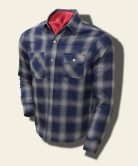 Sugar Cane Indigo-Dyed Flannel Check Shirt, Gray SC27104_115