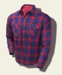 Sugar Cane Indigo-Dyed Cotton-Flannel Check Shirt, Red SC27104_165