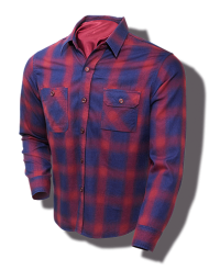 Sugar Cane Indigo-Dyed Cotton-Flannel Check Shirt, Red