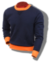Whitesville Sweatshirt, Heavyweight Loop-Wheeled Navy & Orange