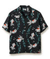 Sun Surf Vintage-Style Hawaiian Shirt Goldfish, Black